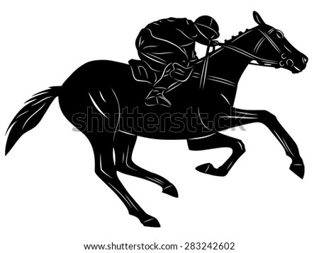 black and white rider on horse, white background , isolated illustration - stock vector