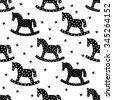 Black and white rocking horses seamless christmas pattern. Winter holidays vector background. Cute baby shower background. Child play illustration. - stock vector