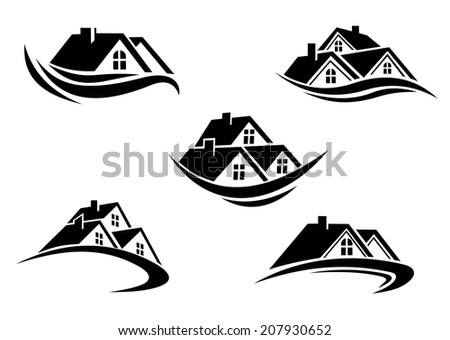 Black and white roof of houses with swoosh is the symbol of real estate logo business industry design