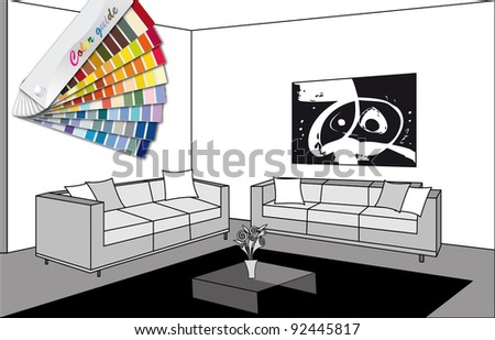 black and white room with color guide - stock vector