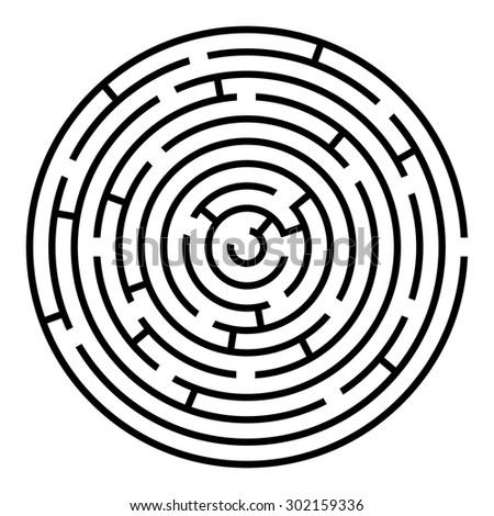 Black and white round maze vector template isolated on white background. - stock vector