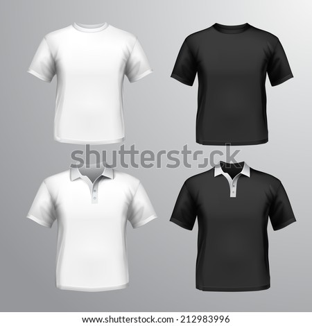 Black and white round neck and polo t-shirts male set isolated vector illustration - stock vector