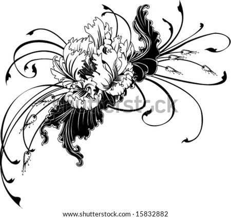 black and white ruffly flower sprig decoration design vector illustration