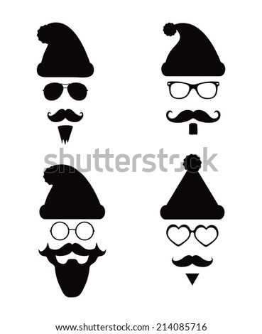 Black and White Santa Klaus fashion silhouette hipster style, illustration icons - stock vector