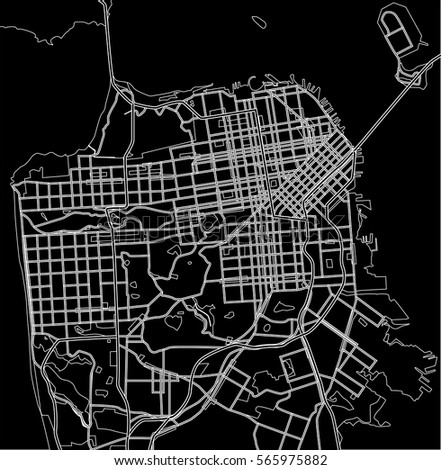 San Francisco Vector City Map Stock Vector Shutterstock - San francisco map vector free download