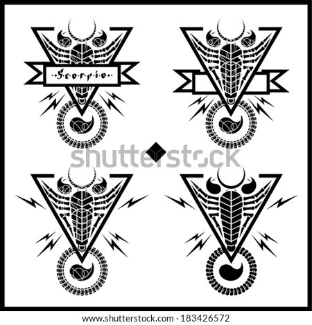 Black and white scorpion tribal tattoo with place for your own text - stock vector