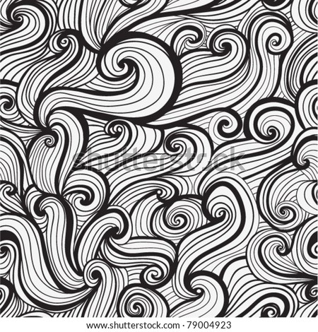 black and white seamless abstract hand-drawn pattern, looks like hair or waves - stock vector