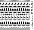Black and white seamless Christmas pattern, card - Scandinavian sweater style. Cute Christmas background - Xmas trees, deers, hearts and snowflakes. Happy New Year background.  - stock vector