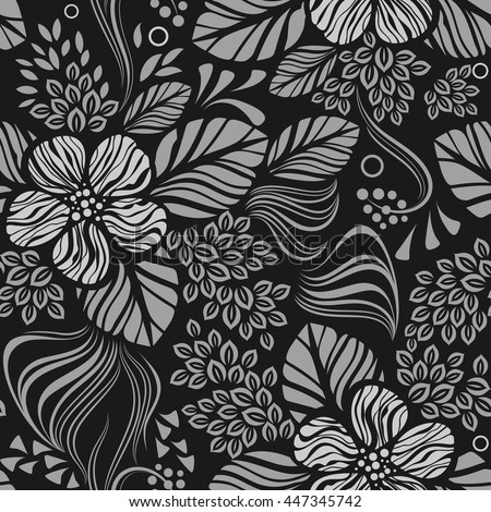 Black and white seamless floral wallpaper pattern vector template. Seamless wrapping paper, textile or upholstery print. - stock vector