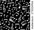 Black and white seamless music pattern. White music elements on black background. Seamless square pattern can be used for wallpapers, web page backgrounds or wrapping papers. EPS 8. - stock vector
