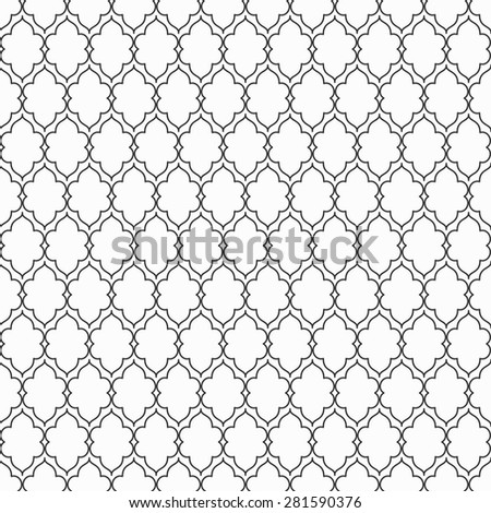 Black and white seamless ornament pattern. Lattice vector background. - stock vector