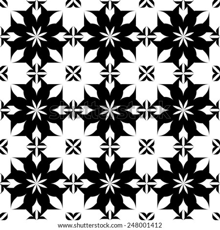 Black and white seamless pattern, abstract background, vector, illustration. - stock vector