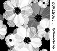 Black and white seamless pattern Abstract seamless background with flowers - stock vector