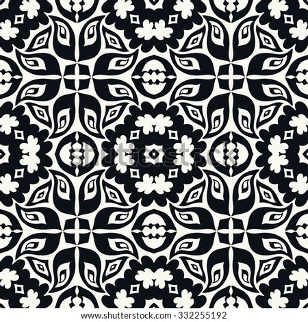 Black and white seamless pattern, hand drawn abstract background. Geometric floral ornament, tribal ethnic arabic indian motif.  - stock vector