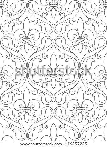 Black White Seamless Pattern French Lilies Stock Vector 116857285