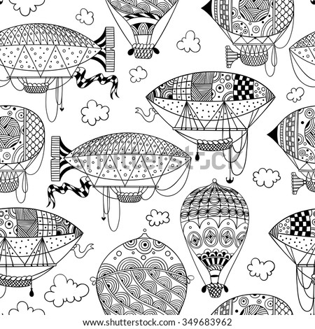 black and white seamless pattern with aerostat / air balloon / airship and clouds. abstract vector doodle art print. Wallpaper, fabric, paper, wrapping, postcards, textile, coloring book. hand drawn - stock vector