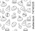black and white seamless pattern with babies faces and toys - stock vector
