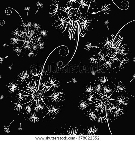 Black and white seamless pattern with dandelions and seeds flying - stock vector