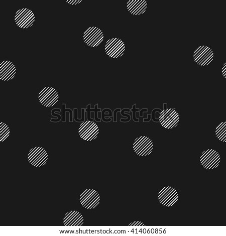Black and white seamless pattern with hatched dots. Stylized bokeh seamless pattern. Abstract snowfall.  - stock vector