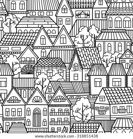 Black and white seamless pattern with houses and trees. Vector illustration
