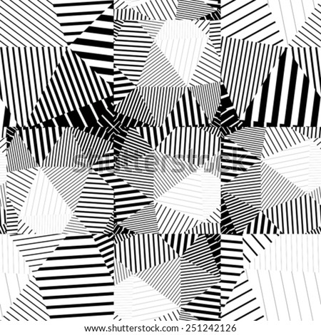 Black and white seamless pattern with parallel lines and geometric elements, infinite mosaic textile, abstract vector textured floor covering. - stock vector