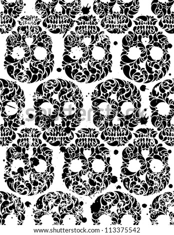 Black and white seamless pattern with skulls and blots in grunge style. EPS 8 vector illustration. - stock vector
