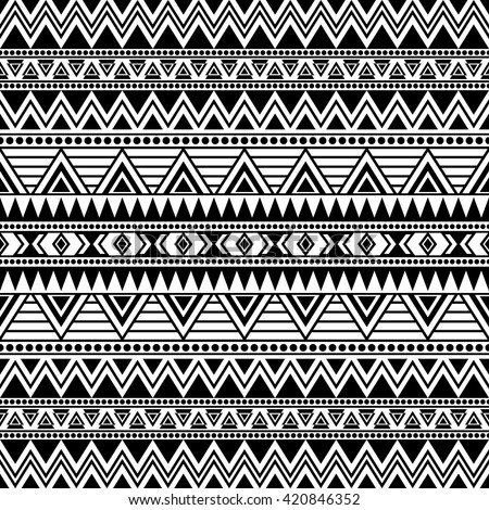 Black White Seamless Pattern Tribal Aztec Stock Vector 420846352