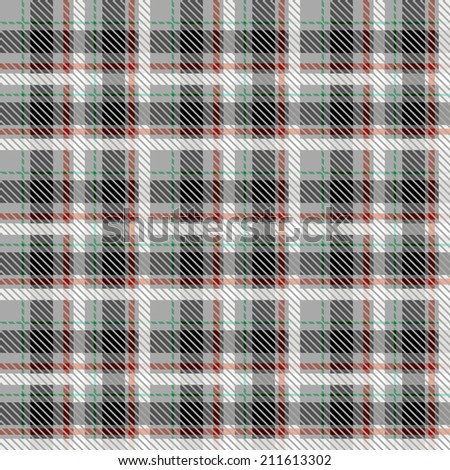 Black and white seamless tartan with thin red and green stripes. Vector illustration. - stock vector