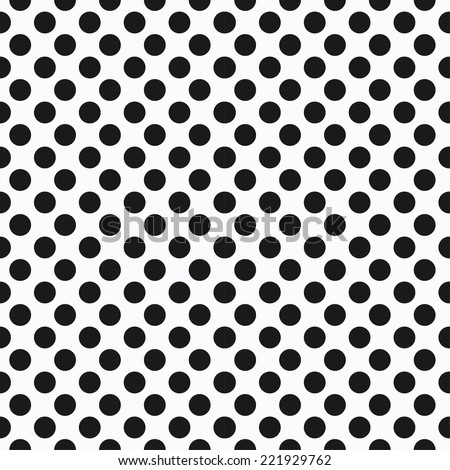 Black and white, seamless vector background with dots - stock vector