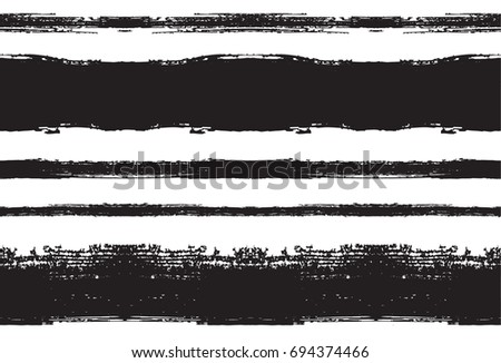 Black and white seamless vector sailor stripes pattern. Trendy hipster textile background. Retro vintage fabric stripy design. Greyscale paintbrush ink strokes. Funky graffiti painted seamless pattern