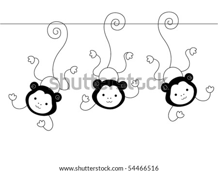 Black and White Series: Three Monkeys - Vector