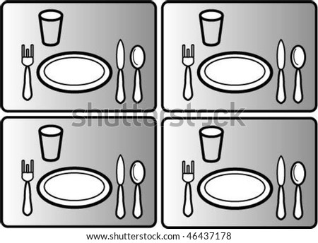 Black and white set of dishes for lunch