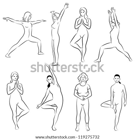 Black and white set of meditation poses. Characters are outline stylized - stock vector
