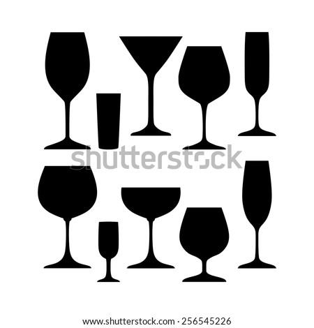 Black and white set of wineglasses - Illustration - stock vector