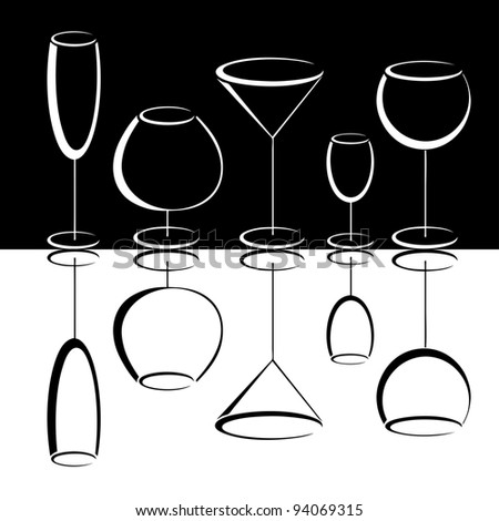 Black and white set of wineglasses vector - stock vector