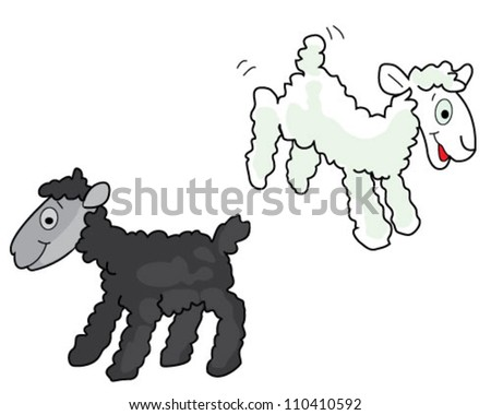 Black and white sheep over white background - stock vector