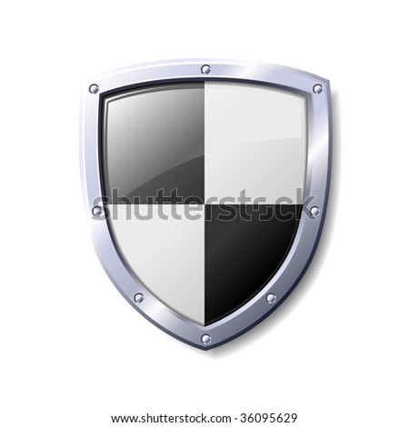 Black and White Shiny Shield - stock vector