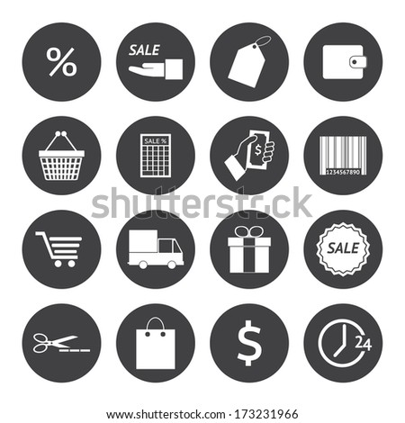 Black and White Shopping icons set. Illustration eps 10 - stock vector
