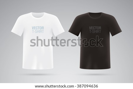 Black and white short sleeve T-shirts. Vector T-shirts. - stock vector