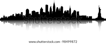 Black and white sihouette of the New York skyline. - stock vector