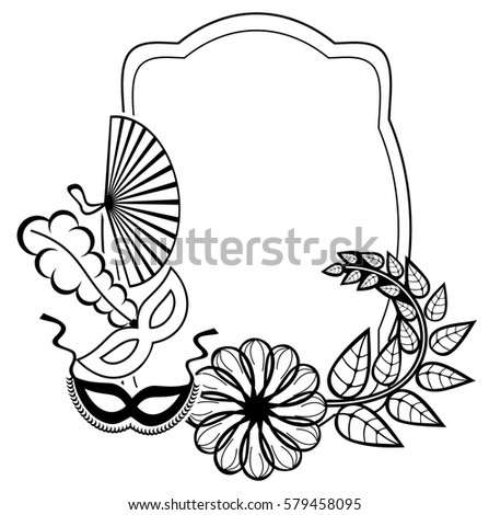 Black And White Silhouette Frame With Carnival Masks And Abstract Flowers.  Copy Space. Vector