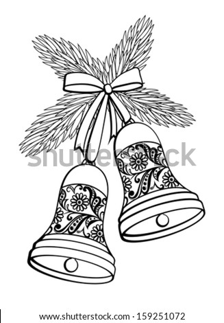 Black and white silhouette of a bell with a floral design. Hanging on a Christmas tree branch.   - stock vector