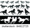 black and white silhouette of a horse gallop, vector - stock vector