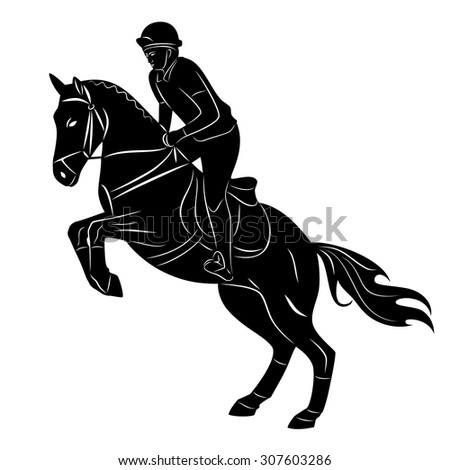 black and white silhouette , rider on horse, white background , isolated sketch - stock vector