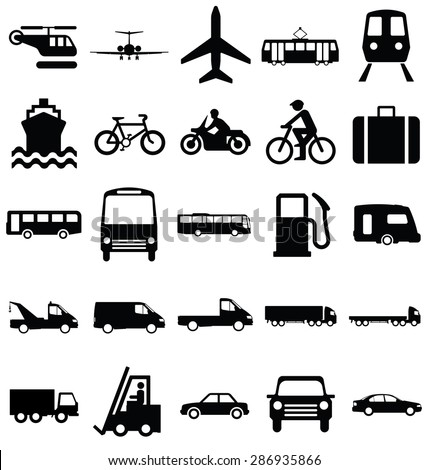Black and white silhouette transport and travel related graphics collection isolated on white background - stock vector