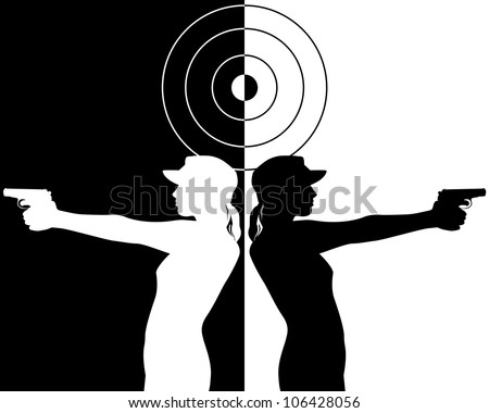 black and white silhouettes of a pistol shooter - stock vector