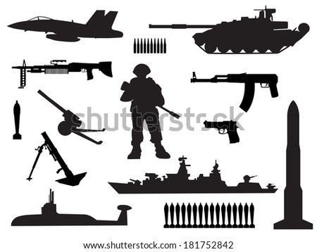 black and white silhouettes of armed forces - stock vector