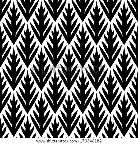 Black and white simple trees geometric ikat seamless pattern, vector - stock vector