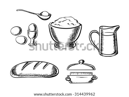 Black and white sketch baking ingredient icons with eggs, flour, milk, bread and butter - stock vector