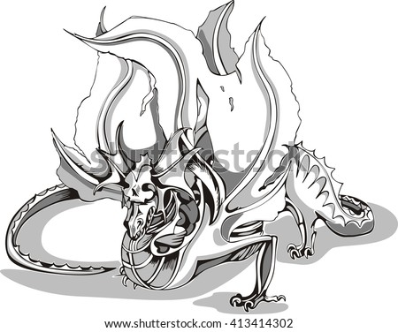 Black and white sketch of a dragon. Vector illustration. - stock vector